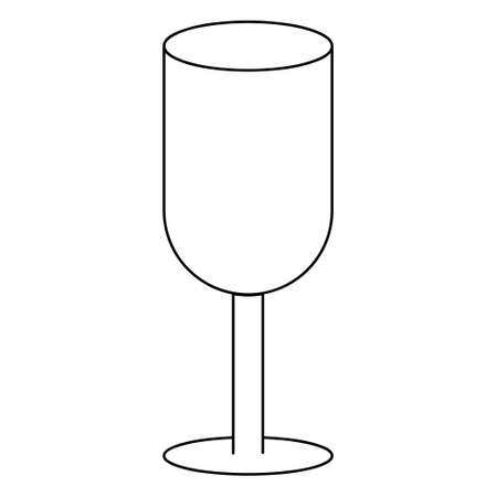 Wineglass. Sketch. Glass container for an alcoholic drink. Vector icon. Outline on an isolated white background. Crystal goblet for Cahors. Cocktail bowl. Fragile container for a drink. Doodle style.