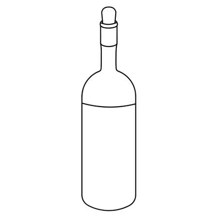 Wine bottle. Sketch. Alcohol in a glass container. Vector illustration. Outline on an isolated white background. The neck is blocked with a stopper. Strong Cahors. Doodle style. Idea for web design.