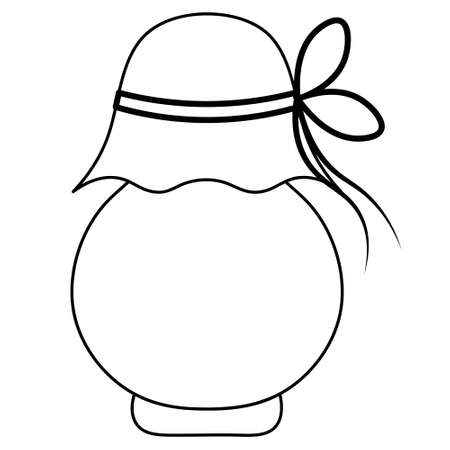 Jar of jam. Sketch. Delicious berry jam in a glass container. Vector illustration. Outline on an isolated background. The container is tied with a cord. Ilustração