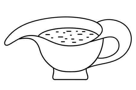 Sauce bowl. Vector illustration. Outline on an isolated white background. Doodle style. Sketch. Traditional gravy for a hot dinner. Ceramic mug for refueling.