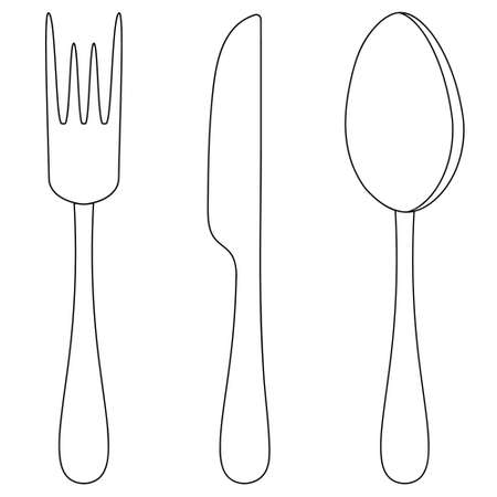 Cutlery. Knife, fork and spoon. Vector set of illustrations. Outline on an isolated white background. Doodle style. Sketch. Collection of silver tools for eating. Lunch equipment. Table setting.
