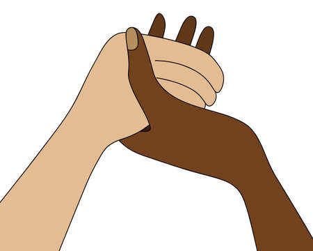 People are holding hands. A multiracial family prays at the dinner table. Colored vector illustration. Isolated white background. Prayer before meals on Thanksgiving Day. Religious motives.