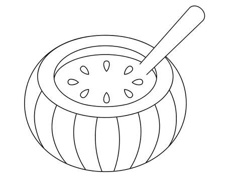 Pumpkin soup. Delicious stew in a pumpkin-cut mold, decorated with pumpkin seeds. Vector illustration. Outline on an isolated white background. Doodle style. Sketch. Coloring book for children. Vegan 向量圖像