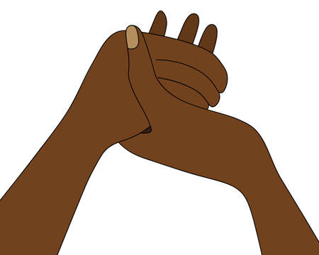 African Americans are holding hands. Prayer at the dinner table. Colored vector illustration. Isolated white background. Prayer before meals on Thanksgiving Day. Religious motives. An appeal to God.