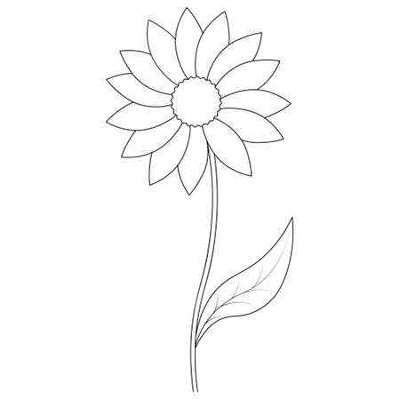 Flower. Sketch. Vector illustration. Outline on an isolated white background. Doodle style. Coloring book for children. A blossoming bud. Leaf on stem. Flowering plant. Idea for web design. 向量圖像
