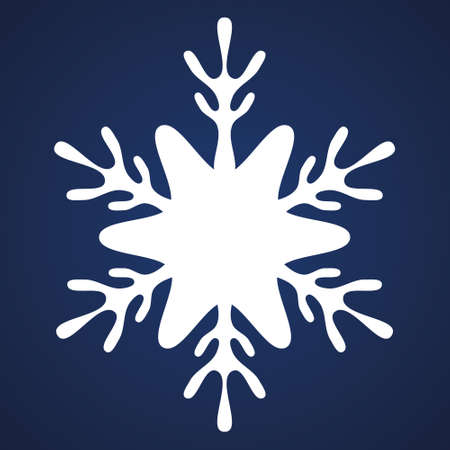 Snowflake. Festive ornament. Vector illustration. Isolated blue background. Flat style. A fragile crystal of intricate shape. Frostwork. Snow flakes. Frozen star. Arctic icon. Christmas, New Year. Ilustrace