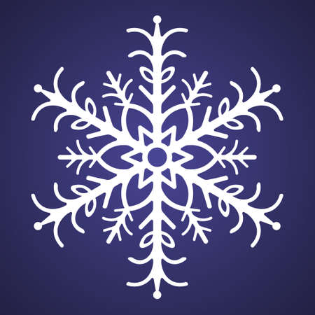 Snowflake. Festive ornament. Vector illustration. Isolated purple background. Flat style. A fragile crystal of intricate shape. Frostwork. Snow flakes. Frozen star. Arctic icon. Christmas. New Year.
