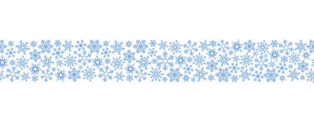Snowflakes. Seamless horizontal border. Repeating vector pattern. Isolated colorless background. Endless holiday ornament. Delicate crystal background. Idea for web design, packaging, wallpaper, cover