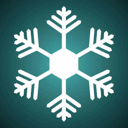 Snowflake. Festive ornament. Vector illustration. Isolated green background. Flat style. A fragile crystal of intricate shape. Frostwork. Snow flakes. Frozen star. Arctic icon. Christmas. New Year. Ilustrace