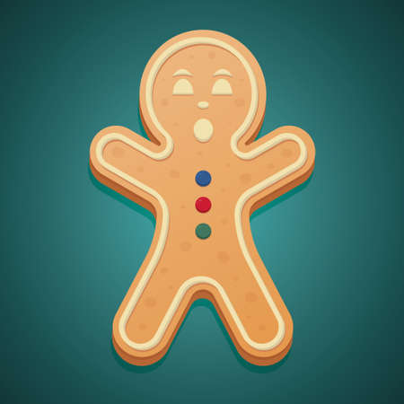 Gingerbread Man. Colored vector illustration. Isolated green background. The boy raised his hands up. Çizim