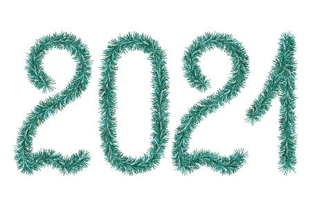 Tinsel. 2021. Lettering from a holiday decoration. Fluffy numbers. Emerald color.