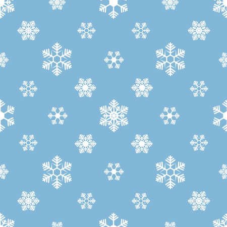 Snowflakes. Repeating vector pattern. Isolated blue background. Seamless festive ornament. Delicate crystal background. Idea for web design, packaging, wallpaper, cover, textile. Frostwork.