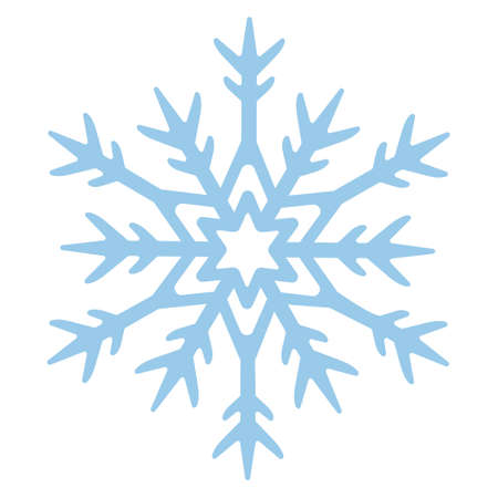 Snowflake. Festive ornament. Vector illustration. Isolated white background. Flat style. A fragile crystal of intricate shape. Frostwork. Snow flakes. Frozen star. Arctic icon. Christmas. New Year. Ilustrace