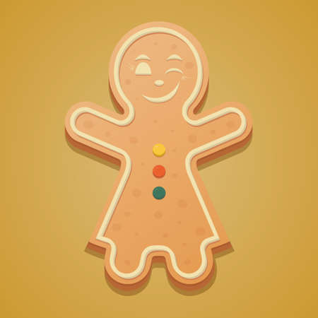 Gingerbread Man. Colored vector illustration. Isolated yellow background. The girl in the dress raised her hands up and winks. Ginger cookies. Festive figured dessert. Christmas. New Year. Çizim