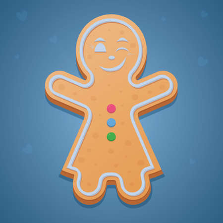 Gingerbread Man. Colored vector illustration. Isolated blue background. The girl in the dress raised her hands up and winks. Sprinkle of hearts. Ginger cookies. Festive figured dessert. Christmas.