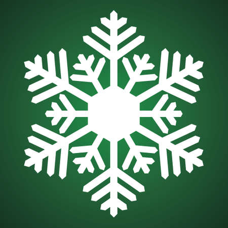 Snowflake. Festive ornament. Vector illustration. Isolated green background. Flat style. A fragile crystal of intricate shape. Frostwork. Snow flakes. The frozen star. Arctic icon. Christmas. New Year