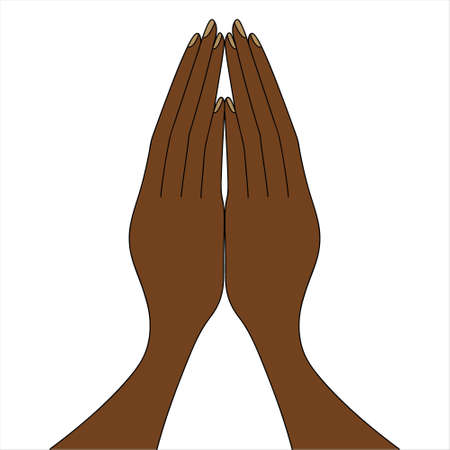 African American folded his hands in prayer. The palms are pointing up. Colored vector illustration. Isolated white background. An appeal to God. The fingers touch each other. Prayer at the table.