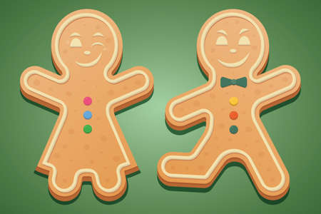 Gingerbread men. Colored vector illustration set. Isolated green background. The girl in the dress raised her hands and winked. A boy with a bow tie runs and smiles maliciously. Gingerbread Cookie.