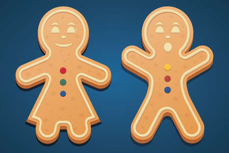 Gingerbread men. Colored vector illustration set. Isolated cyan background. The girl in the dress laughs. The boy raised his hands in surprise. Gingerbread Cookie. Festive figured dessert.