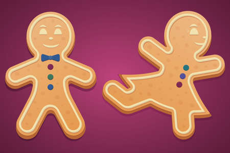 Gingerbread men. Colored vector illustration set. Isolated pink background. Boy with a bow tie laughs. Girl ballerina dancing. Gingerbread Cookie. Festive figured dessert. Christmas.