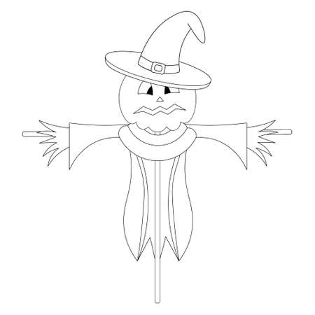 Scarecrow. Scare birds away. Pumpkin on the head. Frightened facial expression. A scarecrow in rags, a hat and a collar. Vector illustration. Outline on an isolated white background. Doodle style.