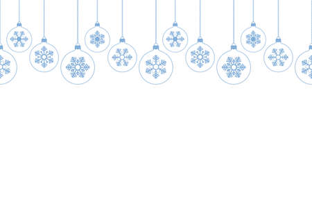 Christmas tree toy with a snowflake inside. Seamless horizontal border. Repeating vector pattern. Isolated white background. Glass ball. Endless ornament of blue snowflakes. Christmas decorations.