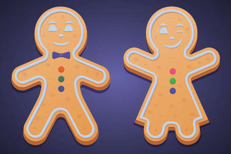 Gingerbread men. Colored vector illustration set. Isolated purple background. The girl in the dress raised her hands and winked. Boy with bow tie. Gingerbread Cookie. Festive figured dessert.