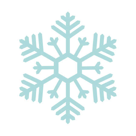 Snowflake. Festive ornament. Vector illustration. Isolated white background. Flat style. A fragile crystal of intricate shape. Frostwork. Snow flakes. Frozen star. Soft color. Arctic icon. Illusztráció