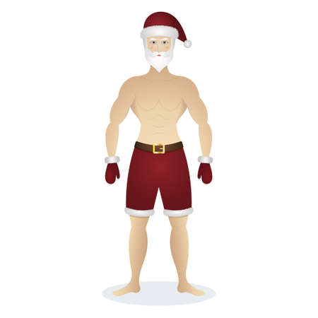 Santa Claus. Sexy man in a hat, shorts and mittens. Colored vector illustration. Isolated white background. A gray-haired man with a beard and a torso. Athletic guy with pumped up muscles.