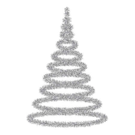 Christmas tree. A tree made of fluffy tinsel. Colored vector illustration. Isolated white background. Silver fir. Happy new year and merry christmas. Idea for web design.