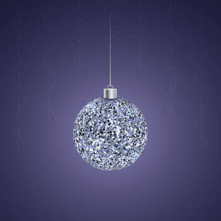 Christmas crystal ball. Silver colored glass toy. Bubble ornament. Colored vector illustration. Isolated purple background. Decorations from glowing rain curtains. The Christmas decoration is hung.