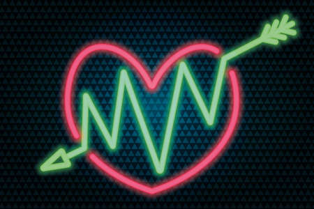 An arrow pierces the heart. Neon glow. Colored vector illustration. Isolated background from green triangles. Valentines Day. Accurate shot. Zigzag needle. Lovers symbol. A wounded heart.