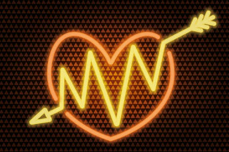 An arrow pierces the heart. Neon glow. Colored vector illustration. Isolated background from golden triangles. Valentines Day. Accurate shot. Zigzag needle. Lovers symbol. A wounded heart.
