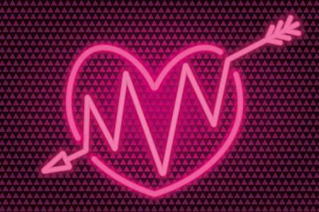 An arrow pierces the heart. Neon glow. Colored vector illustration. Isolated background of pink triangles. Valentines Day. Accurate shot. Zigzag needle. Lovers symbol. A wounded heart.