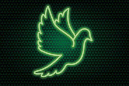 Neon pigeon. The bird flaps its wings. Colored vector illustration. Isolated background of green hearts. Valentines Day. Symbol of marriage. Green neon glow. The dove is a symbol of peace. Ilustracje wektorowe