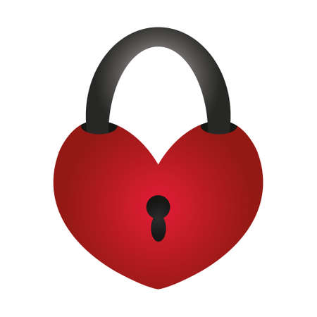Door lock in the shape of a heart. A symbol of love and strong relationships of the newlyweds. Colored vector illustration. Isolated white background. Valentines Day. Keyhole. Padlock. Flat style.