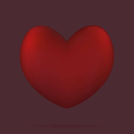 Heart. Three-dimensional shape. The floating heart casts a shadow. Color vector illustrations. Isolated burgundy background. Valentines Day. A symbol of lovers. An idea for a web design, banner.