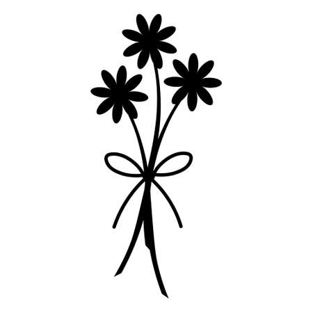 Camomiles. Silhouette. Bouquet of flowers. Colored vector illustration. Isolated background. Asters, gerberas, chamomile. Flowering plant. Bow decoration. Plant pictogram. Idea for web design.