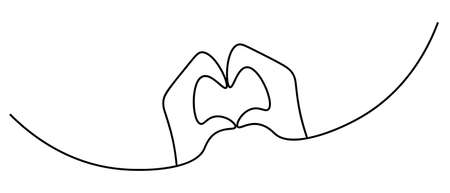 Hands folded in the shape of a heart. Sketch. The sign of love from the palms. Vector illustration. Contour on an isolated white background. Romantic gesture. Valentines Day. Doodle style. Illusztráció