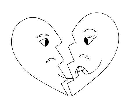 Two halves of a broken heart. Sketch. A crack in the middle of a love symbol. Vector illustration. Isolated white background. Coloring book for children. Valentines Day. Save love. Sadness in the eyes