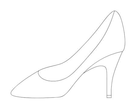 Shoe. Sketch. Womens shoes with heels. Vector illustration. Outline on an isolated background. Coloring book for children. Valentines Day, wedding. Ladies accessory. Lost shoe. Doodle style. Ilustração