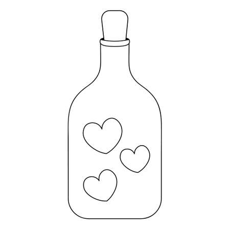 A bottle of love. Hearts are locked in a glass vial. Sketch. Vector illustration. Isolated white background. Coloring book for children. Valentines Day. The glass container is sealed with a stopper.