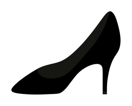 Leather shoe. Womens shoes with heels in a classic style. Vector illustration. Isolated white background. Valentines Day, wedding. Ladies accessory. An invariable attribute of a business woman.