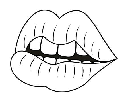 Plump lips. Side view. Sketch. The seductive mouth is slightly open. Vector illustration. Coloring book. Valentines Day. Doodle style. An even row of teeth. Outline on an isolated white background.