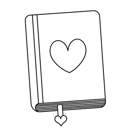 Diary for love notes. Bookmark among sheets. Sketch. Heart on the cover. Closed. Doodle style. A personal notepad for cute thoughts. Hardcover notebook. Love book. Outline on an isolated background. Vecteurs