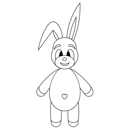 Hare. Rabbit with a cute belly. Sketch. Vector illustration. Outline on an isolated white background. Coloring book. Doodle style. Animal navel in the shape of a heart. Small fluffy with long ears.