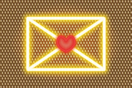 Love letter. Golden neon glow. Colored vector illustration. Isolated background with an ornament of golden pyramids. Valentines Day. A message in an envelope for loved ones with a heart stamp.