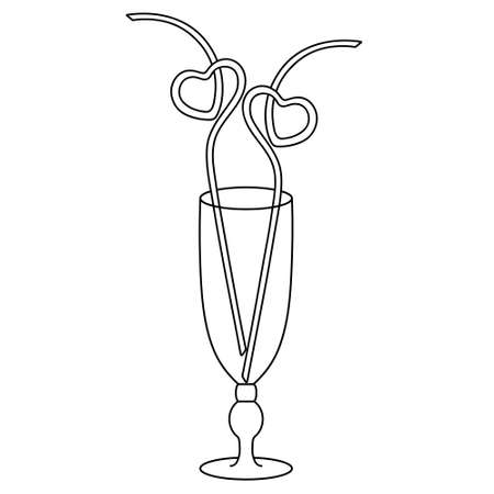 Cocktail glass Sour. Decoration made of plastic tubes twisted in the shape of a heart. Sketch. A romantic device for a couple of lovers. Vector illustration. Coloring book for children. Valentines day