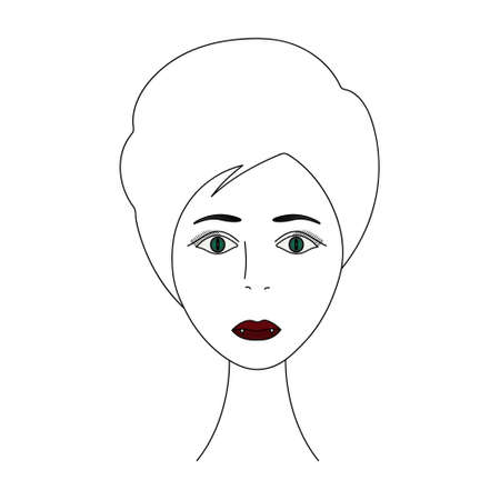 The face of a vampire girl. Head of a woman full face. Vector illustration. Short pixie haircut. Plump lips. White fangs. Carnival lenses on the eyes. Mysterious female portrait.
