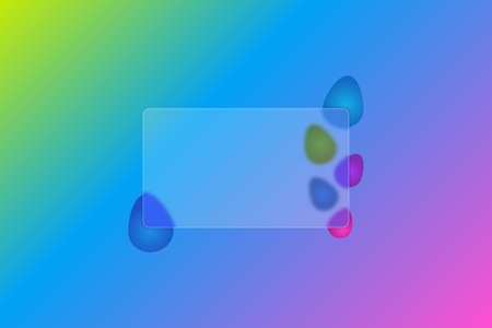 Happy Easter. Transparent card. Rectangle. Frosted glass. Colored vector illustration. Style Glass morphism. Place for your text. Ornament from colored Easter eggs. Isolated colorful background.